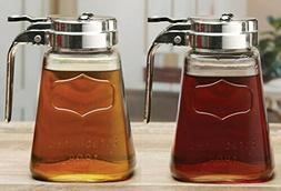 Circleware Yorkshire Set of 2 Glass Syrup Dispensers, 12 Oz.